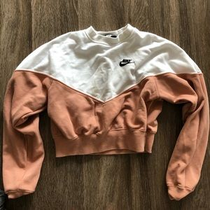 Nike Salmon and White Cropped Sweatshirt